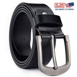 100% Genuine Leather Mens Belts Classic Buckle Trouser Size