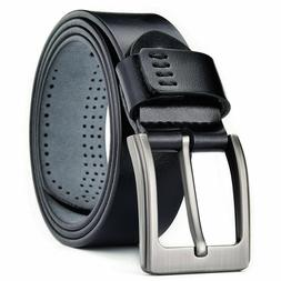 100% Genuine Leather Mens Belts Square Buckle Trouser Sizes