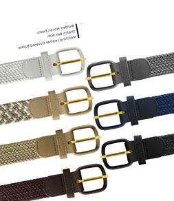 7001 Men's Leather Covered Buckle Woven Elastic Stretch Belt