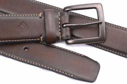 Belt Columbia Leather Brown Contrast Stitching Size S32 Men