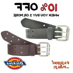 DICKIES MEN'S BELT 2 HOLE DOUBLE PRONG BRIDLE BLACK GENUINE