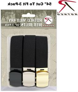"Black 54"" Military Cotton Web Belts 3 Pack CUT TO FIT 4709 R"