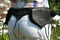 Black Leather Utility Belt, Leather Hip Bag, Waist Pack Wome