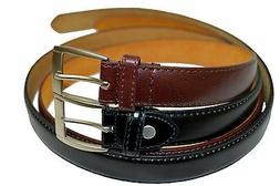 DRESS BELTS MENS SET OF TWO BLACK BROWN ALL SIZES FREE SHIPP