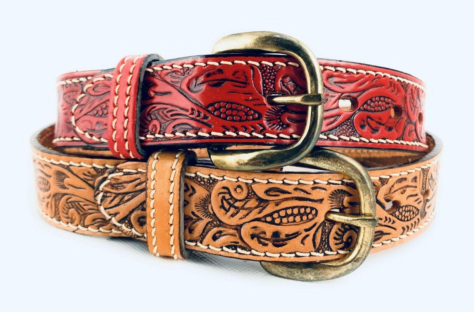 boys and girls tooled floral western belt