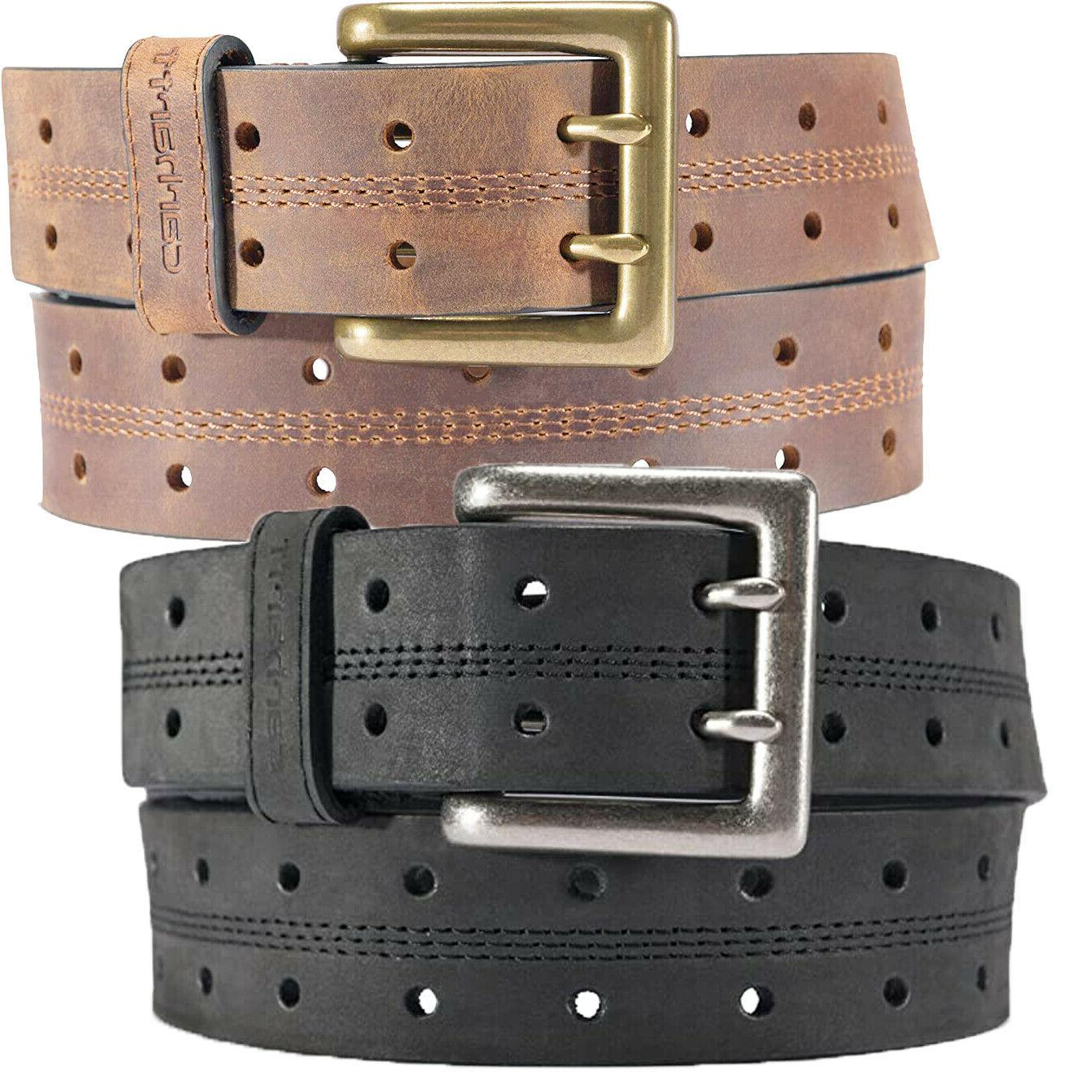 leather belt mens double perf 1 5