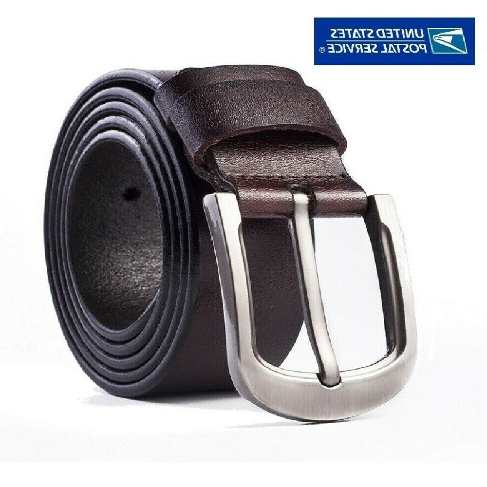 Mens Belt Belts With Classic Silver Buckle Black Stock