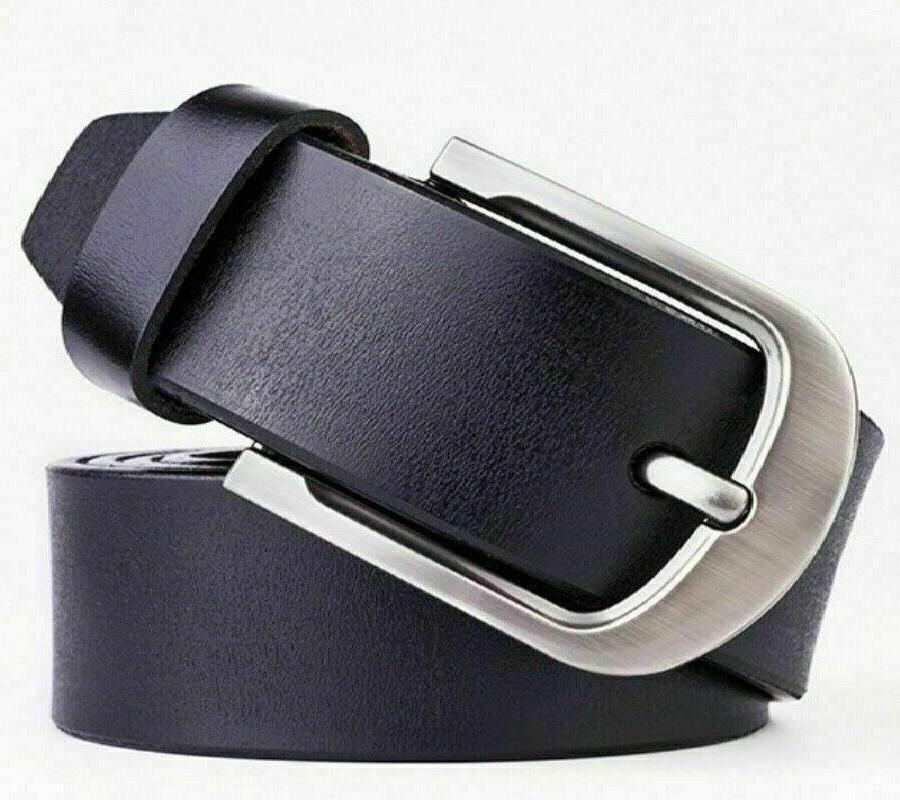 Mens Belt Belts Classic Buckle Brown Black Stock