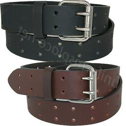 """Dickies Leather Belt Mens 1.5"""" Leather Double Prong Bridle B"""