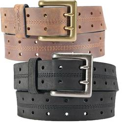"Carhartt Leather Belt Mens Double Perf 1.5"" Leather Black or"