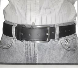 Black Leather Belts For Men 1 1/2 Inch Cow Leather Belt Remo