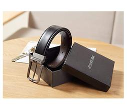 Men Reversible Dress Leather Belts with 2 Colors