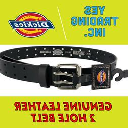 DICKIES MEN'S 2 HOLE BLACK LEATHER BELT GENUINE INDUSTRIAL S