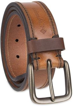 Columbia Men's Casual Leather Belt, Tan Emboss, Small, 30-32