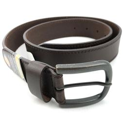 Dickies Men's Genuine Leather Belt Classic Casual Dress Brow