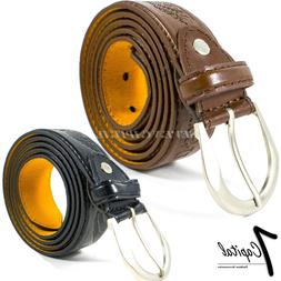 Men's Genuine Leather Dress Jeans Belts With Buckle Causal B