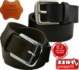 Mens Genuine Leather Belt Belts With Classic Silver Buckle B