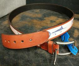 New, Columbia Men's Leather Belt w/ Embroidered Blue Marli
