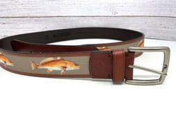 NWT Columbia Leather /canvas Inlay Fish belt brown Mens Size