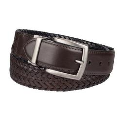 NWT Men's Columbia Elevated Reversible Braided Belt Brown/Bl