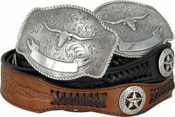 State of TEXAS LONGHORN WESTERN Style GENUINE LEATHER COWBOY