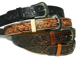 WESTERN LEATHER BELT. COWBOY RODEO CASUAL LEATHER BELT FLORA