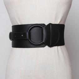 Wide Elastic Waist Belt For Women Faux Leather Material Big