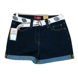 Dickies Women Juniors Jean Shorts Belted High Rise Size 9 NW